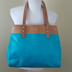 Fossil Aqua Teal and leather Tote / Shoulder Bag